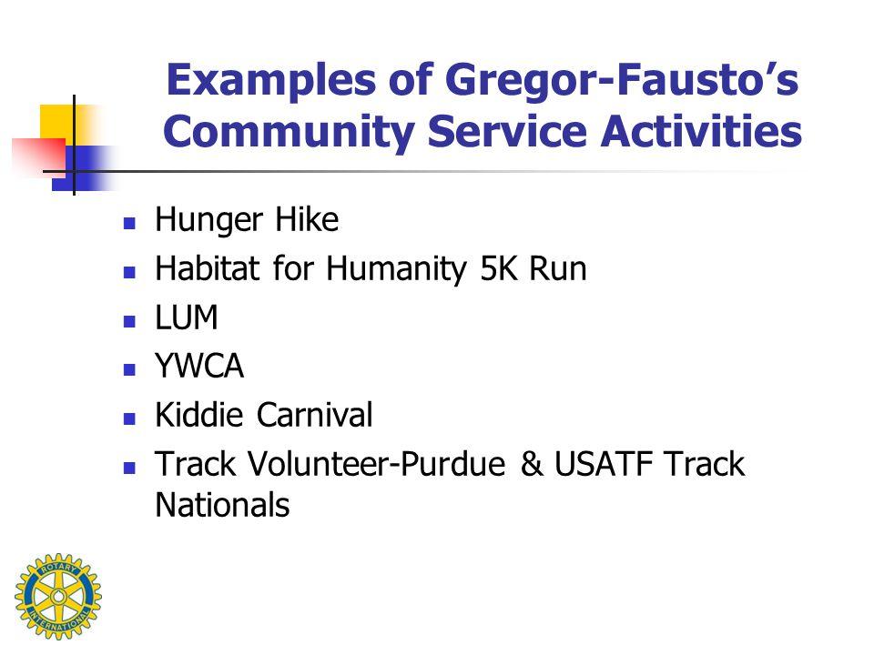 Examples of Gregor-Fausto's Community Service Activities Hunger Hike Habitat for Humanity 5K Run LUM YWCA Kiddie Carnival Track Volunteer-Purdue & USATF Track Nationals