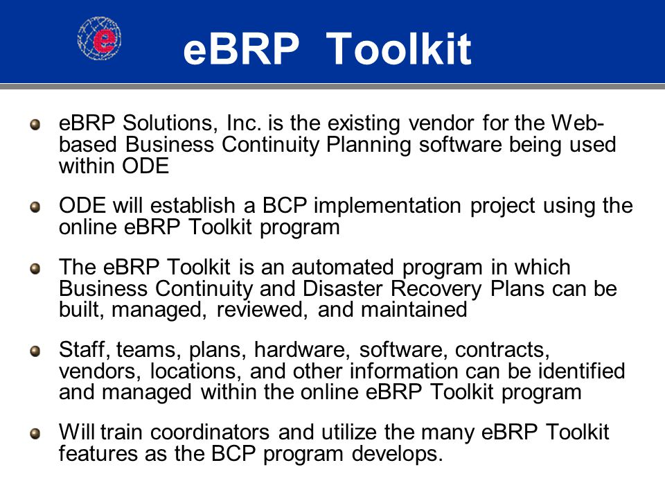 eBRP Toolkit eBRP Solutions, Inc.