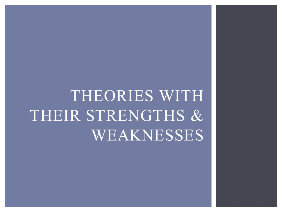 THEORIES WITH THEIR STRENGTHS & WEAKNESSES