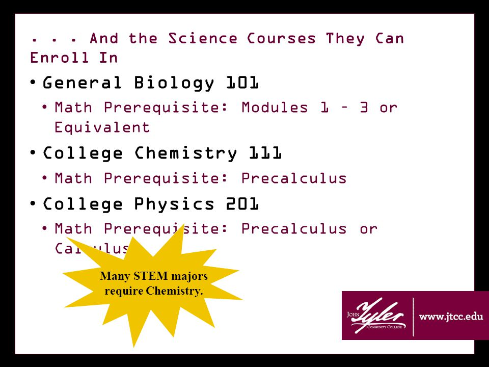 ... And the Science Courses They Can Enroll In General Biology 101 Math Prerequisite: Modules 1 – 3 or Equivalent College Chemistry 111 Math Prerequis