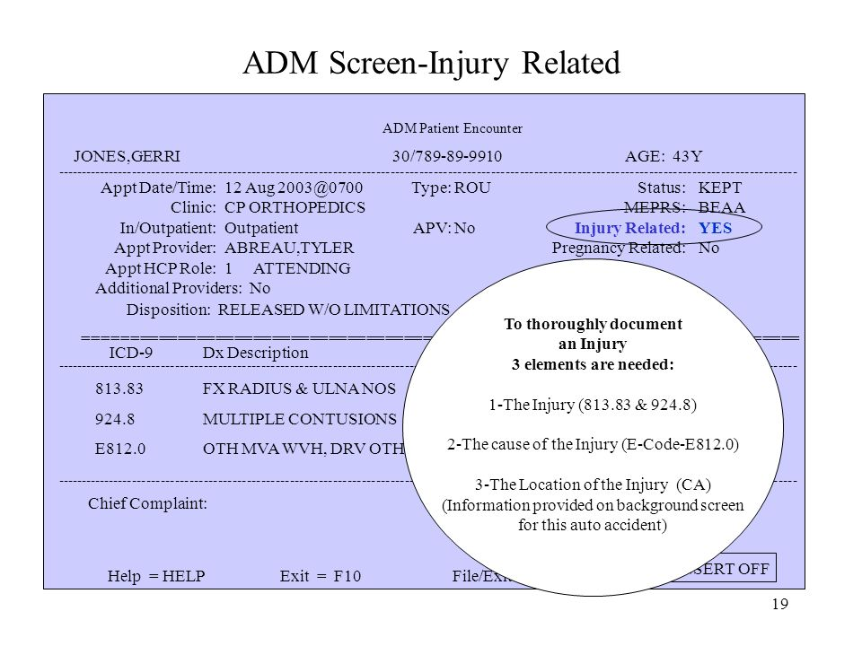 18 ADM Screen-Injury Related ----------------------------------------------------------------------------------------------------------------------------------------------------------- Appt Date/Time: Clinic: 11 Aug 2003@0700 CP ORTHOPEDICS Type: ROU Status: MEPRS: KEPT BEAA ============================================================================ Help = HELPExit = F10File/Exit = DO INSERT OFF Valid Injury ICD-9 Codes are: E800-E999 Geographic Location is collected only for auto accidents.