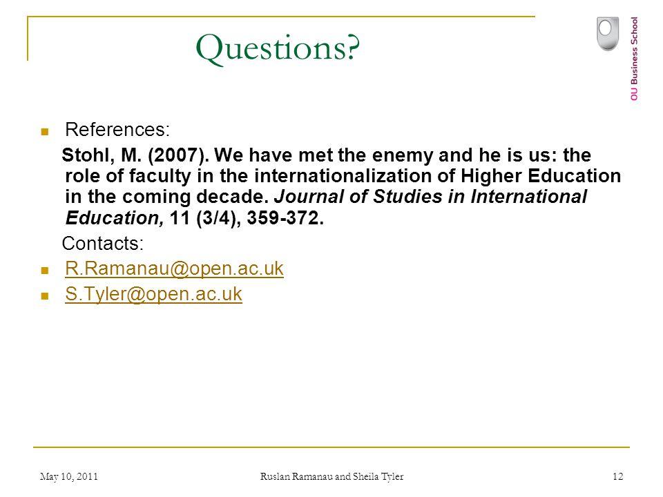 May 10, 2011 Ruslan Ramanau and Sheila Tyler 12 Questions.