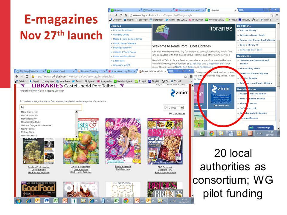 E-magazines Nov 27 th launch 20 local authorities as consortium; WG pilot funding