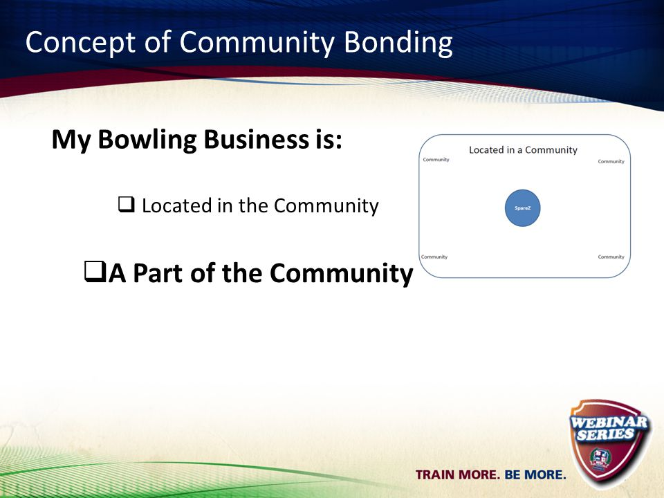 Concept of Community Bonding  Located in the Community  A Part of the Community My Bowling Business is: