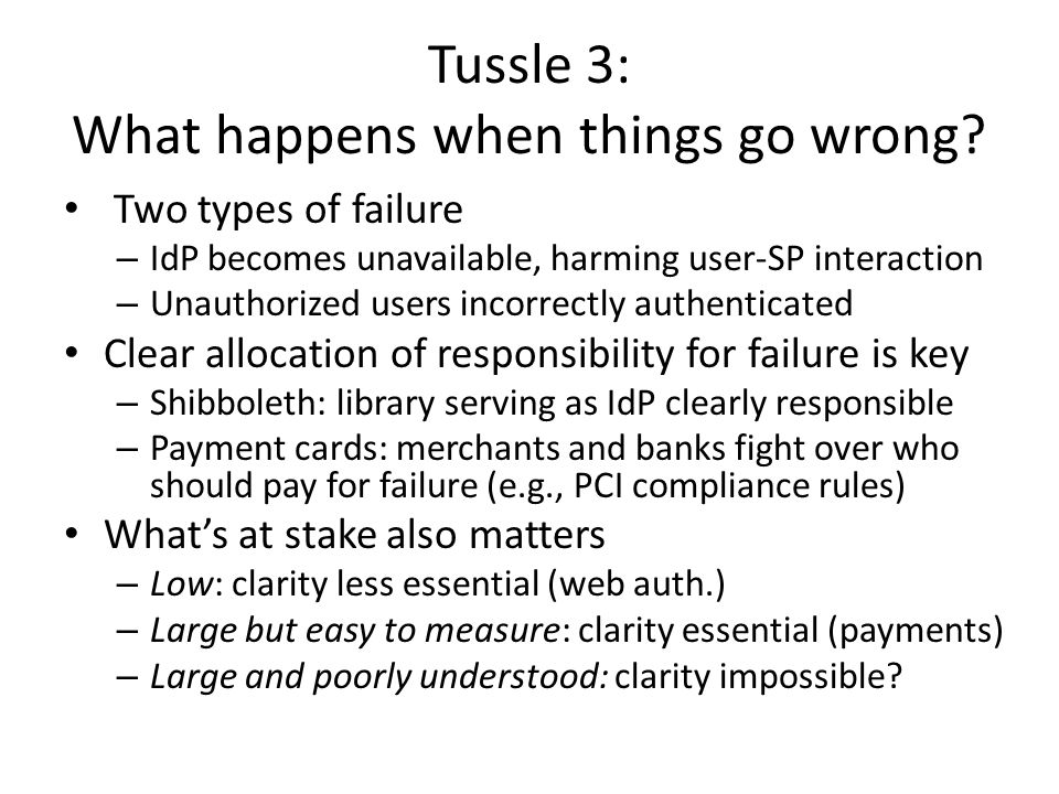 Tussle 3: What happens when things go wrong.