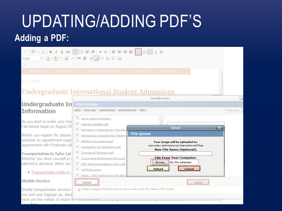 UPDATING/ADDING PDF'S Adding a PDF: Insert link, browse, upload