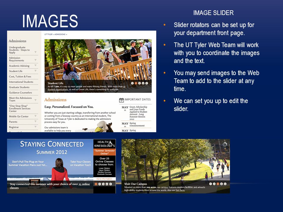 IMAGES IMAGE SLIDER Slider rotators can be set up for your department front page.