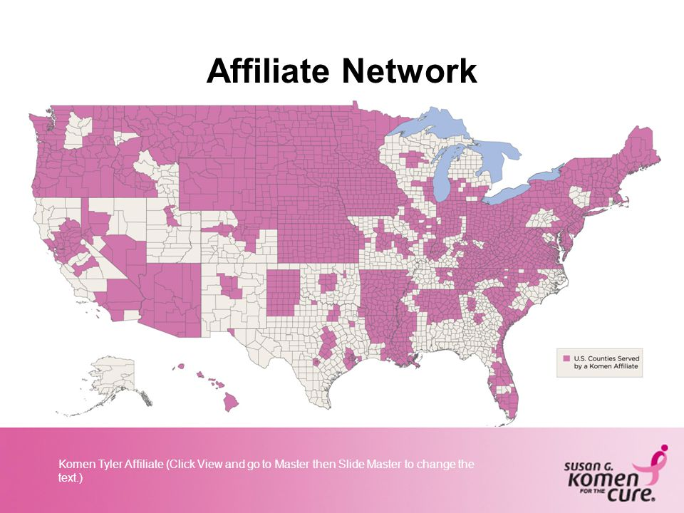 Komen Tyler Affiliate (Click View and go to Master then Slide Master to change the text.) Affiliate Network