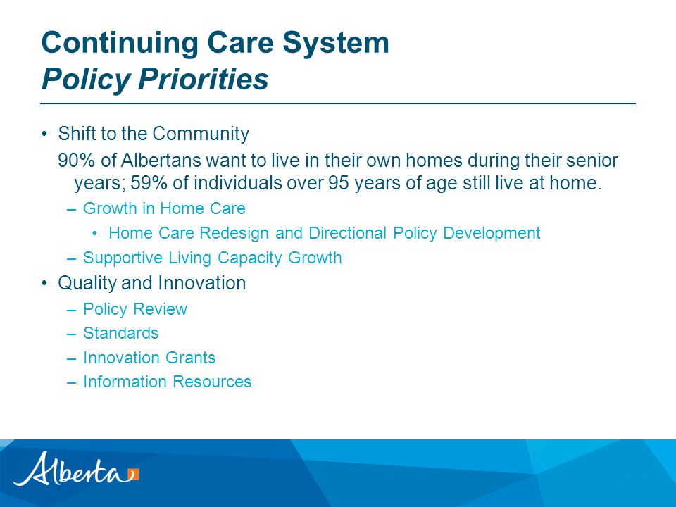 Continuing Care System Policy Priorities Shift to the Community 90% of Albertans want to live in their own homes during their senior years; 59% of individuals over 95 years of age still live at home.