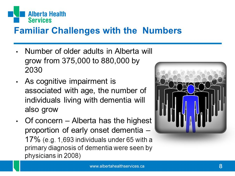 8 Familiar Challenges with the Numbers Number of older adults in Alberta will grow from 375,000 to 880,000 by 2030 As cognitive impairment is associated with age, the number of individuals living with dementia will also grow Of concern – Alberta has the highest proportion of early onset dementia – 17% (e.g.