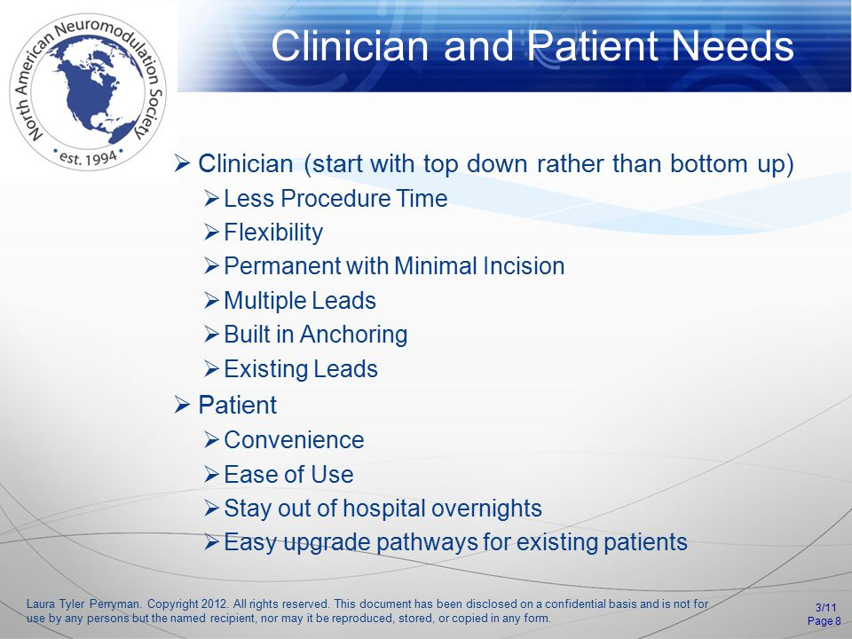 Clinician and Patient Needs 3/11 Page 8 Laura Tyler Perryman.