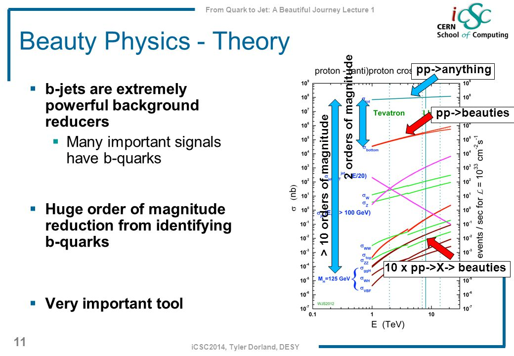 From Quark to Jet: A Beautiful Journey Lecture 1 11 iCSC2014, Tyler Dorland, DESY Beauty Physics - Theory  b-jets are extremely powerful background reducers  Many important signals have b-quarks  Huge order of magnitude reduction from identifying b-quarks  Very important tool > 10 orders of magnitude 2 orders of magnitude pp->anything pp->beauties 10 x pp->X-> beauties