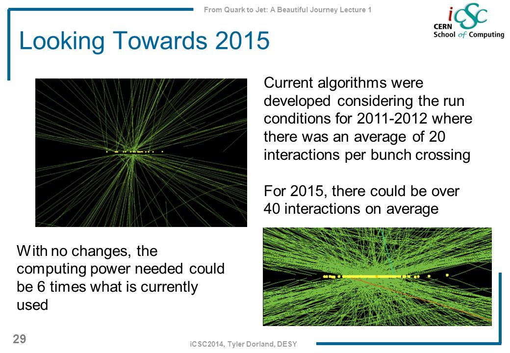 From Quark to Jet: A Beautiful Journey Lecture 1 29 iCSC2014, Tyler Dorland, DESY Looking Towards 2015 Current algorithms were developed considering the run conditions for 2011-2012 where there was an average of 20 interactions per bunch crossing For 2015, there could be over 40 interactions on average With no changes, the computing power needed could be 6 times what is currently used