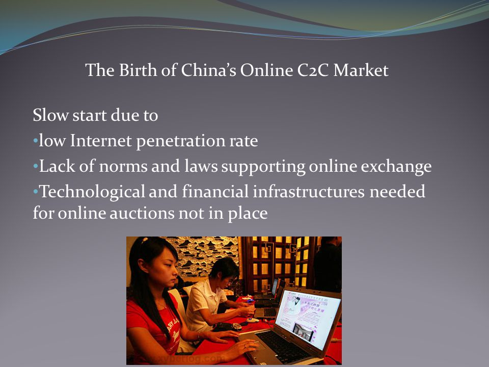 The Birth of China's Online C2C Market Fraud was rampant Lacked comprehensive online payment system Mainly debit cards specific to each city Lack of credit system Banks hesitant about issuing credit cards