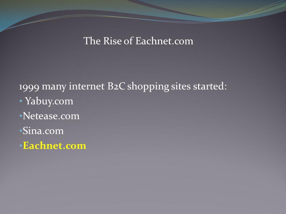 The Rise of Eachnet.com 1999 many internet B2C shopping sites started: Yabuy.com Netease.com Sina.com Eachnet.com