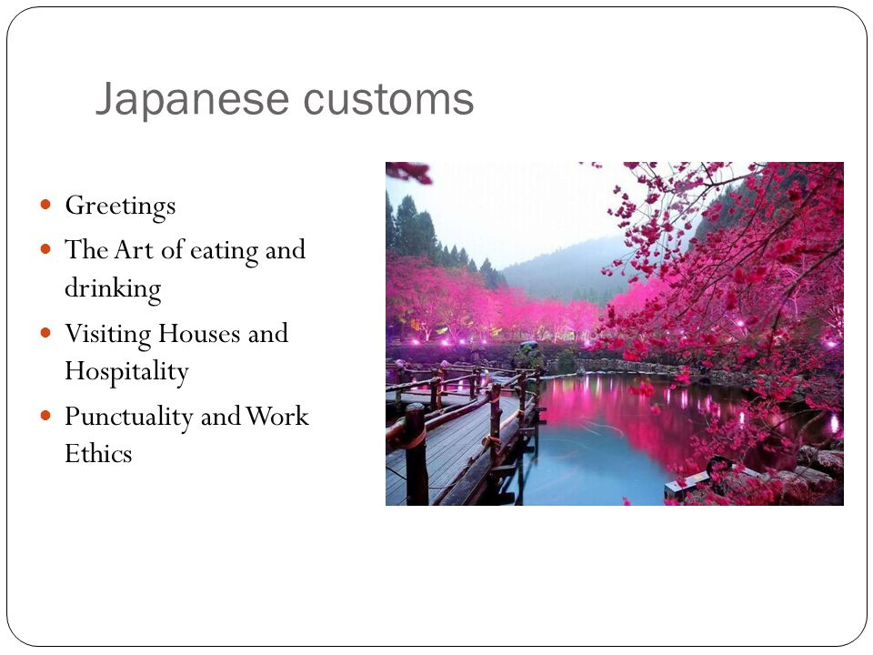 Japanese customs Greetings The Art of eating and drinking Visiting Houses and Hospitality Punctuality and Work Ethics