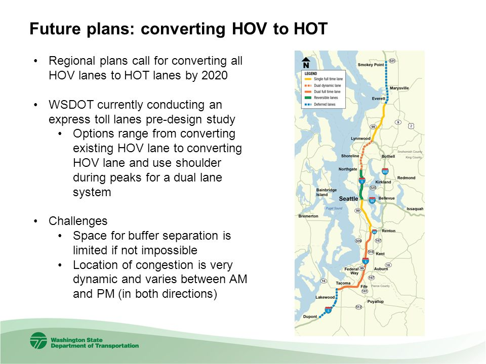 Future plans: converting HOV to HOT Regional plans call for converting all HOV lanes to HOT lanes by 2020 WSDOT currently conducting an express toll l