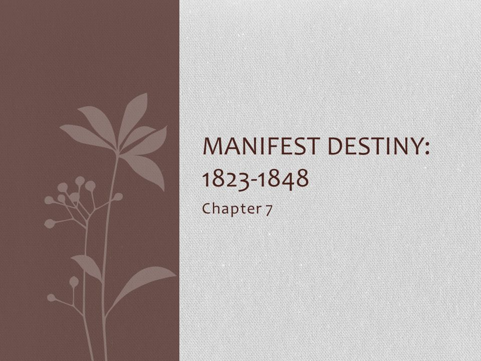 Chapter 7 MANIFEST DESTINY: 1823-1848