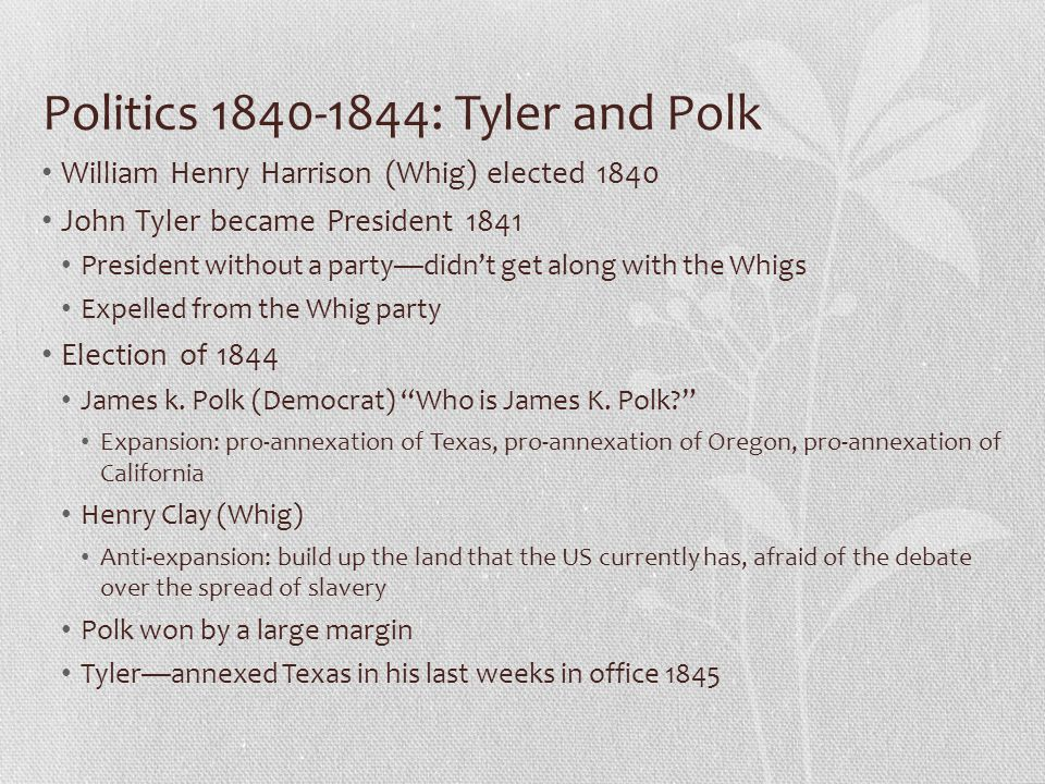 Politics 1840-1844: Tyler and Polk William Henry Harrison (Whig) elected 1840 John Tyler became President 1841 President without a party—didn't get al