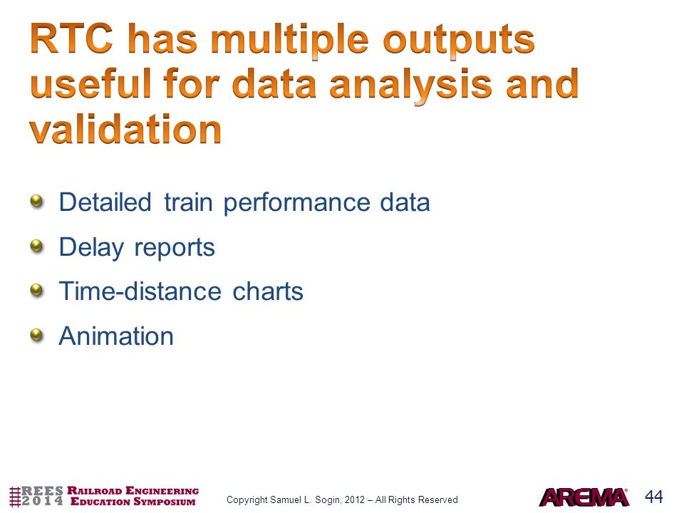 44 Detailed train performance data Delay reports Time-distance charts Animation Copyright Samuel L.