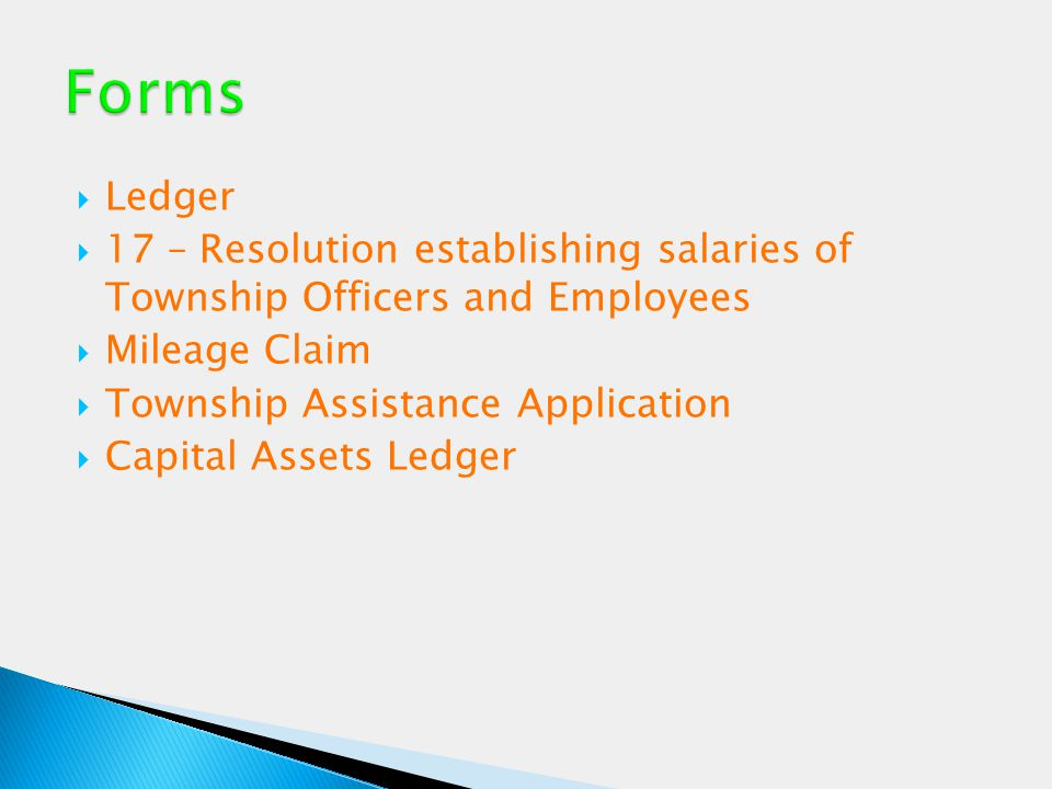  Ledger  17 – Resolution establishing salaries of Township Officers and Employees  Mileage Claim  Township Assistance Application  Capital Assets