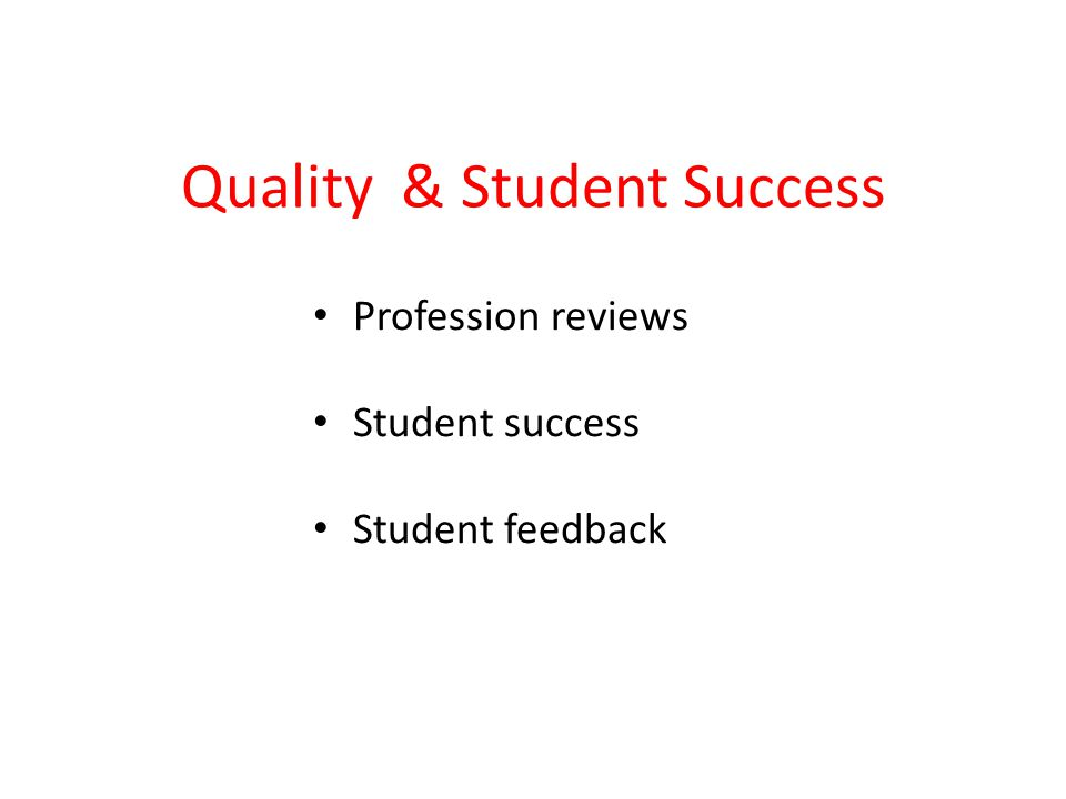 Quality & Student Success Profession reviews Student success Student feedback