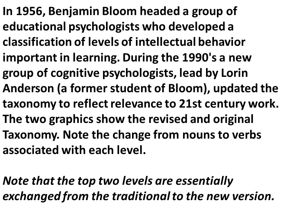 In 1956, Benjamin Bloom headed a group of educational psychologists who developed a classification of levels of intellectual behavior important in lea