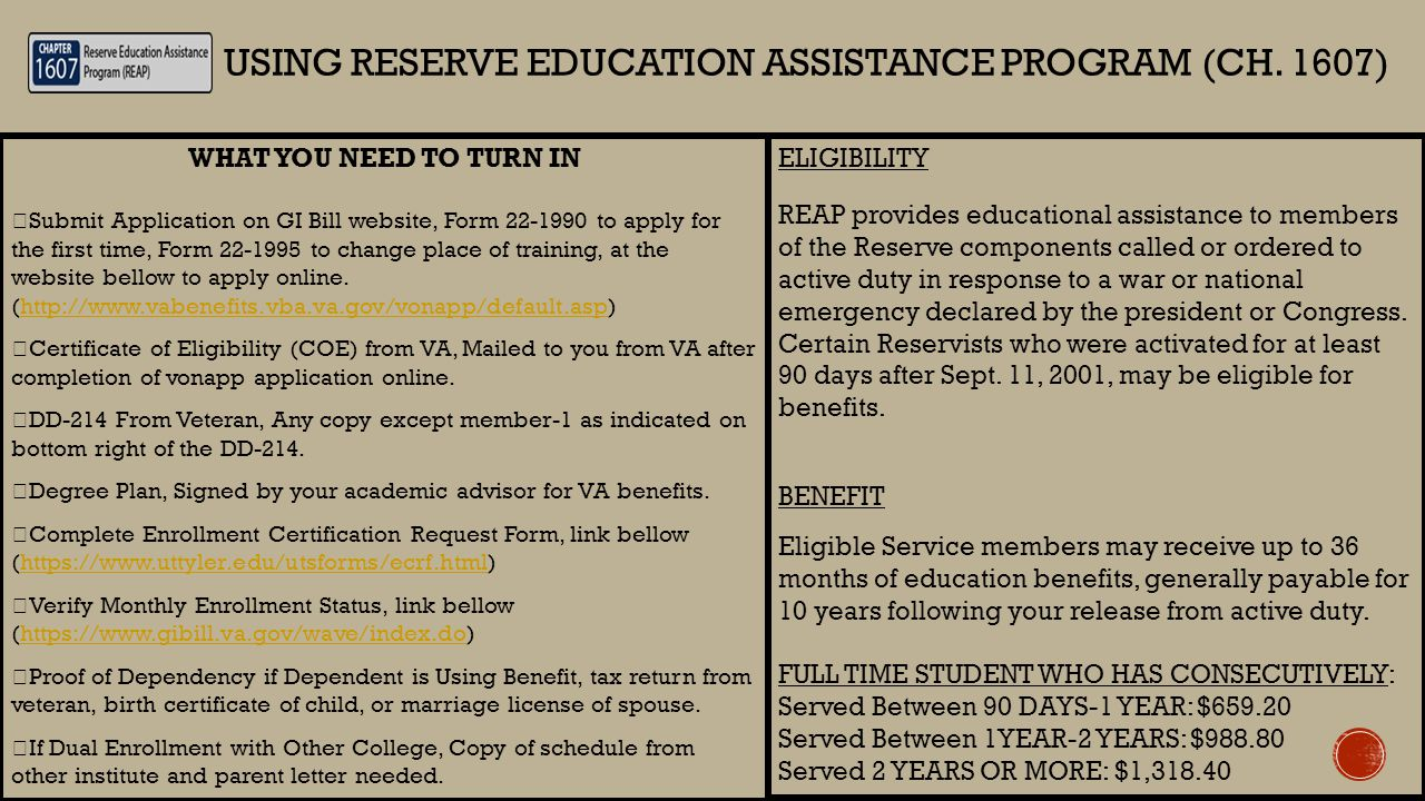 WHAT YOU NEED TO TURN IN  Submit Application on GI Bill website, Form 22-1990 to apply for the first time, Form 22-1995 to change place of training,