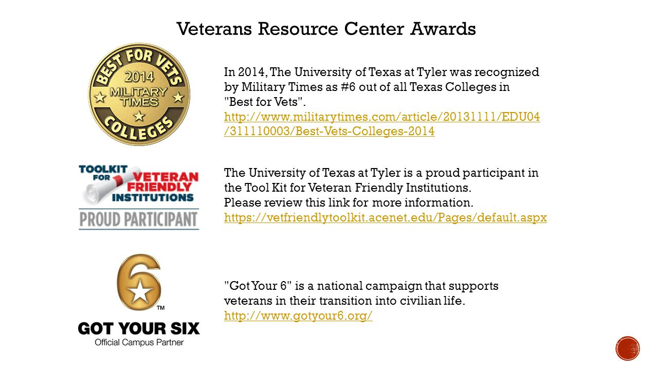 Veterans Resource Center Awards The University of Texas at Tyler is a proud participant in the Tool Kit for Veteran Friendly Institutions.