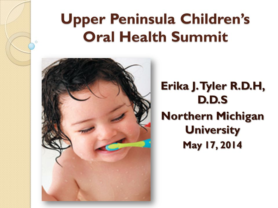 Upper Peninsula Children's Oral Health Summit Erika J. Tyler R.D.H, D.D.S Northern Michigan University May 17, 2014