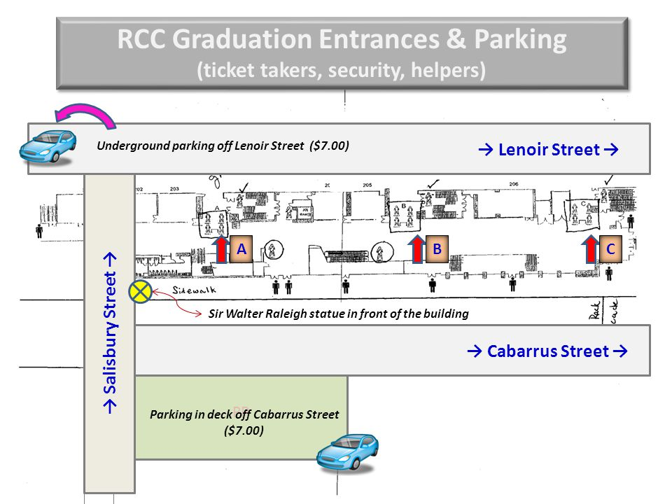 RCC Graduation Entrances & Parking (ticket takers, security, helpers) RCC Graduation Entrances & Parking (ticket takers, security, helpers) PP → Lenoir Street → → Sir Walter Raleigh statue in front of the building Parking in deck off Cabarrus Street ($7.00) Underground parking off Lenoir Street ($7.00) → Salisbury Street → ABC → Cabarrus Street →