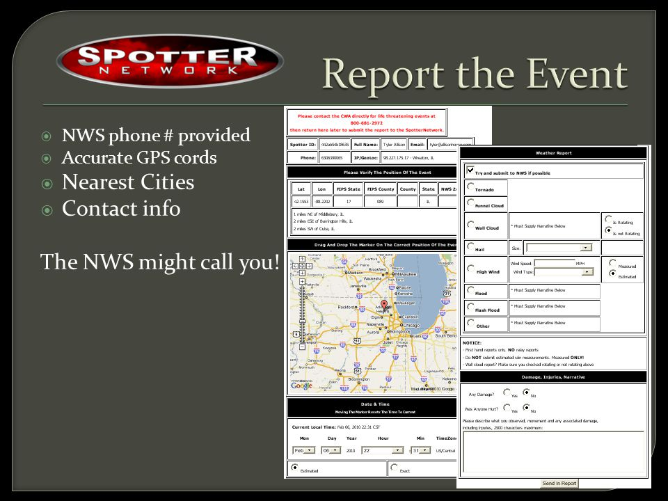  NWS phone # provided  Accurate GPS cords  Nearest Cities  Contact info The NWS might call you!