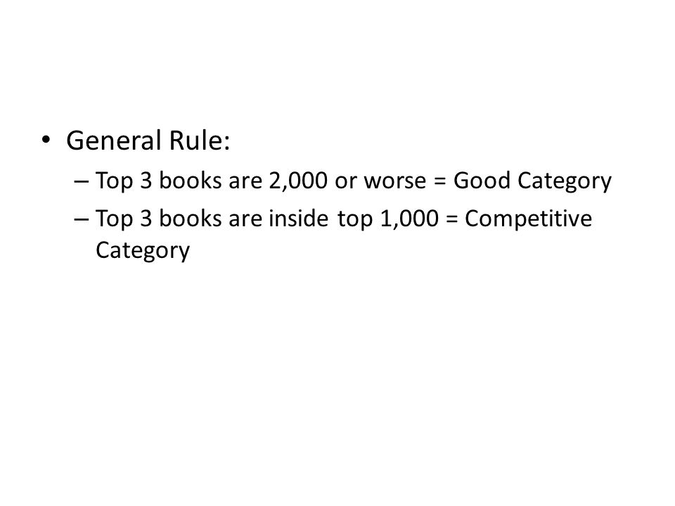 General Rule: – Top 3 books are 2,000 or worse = Good Category – Top 3 books are inside top 1,000 = Competitive Category