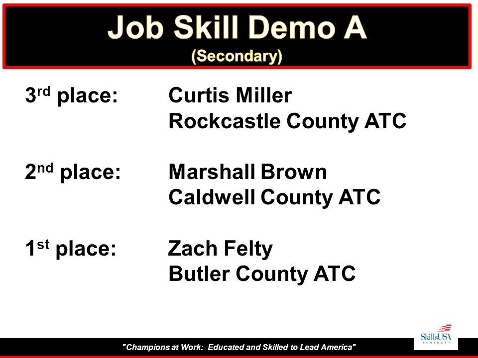 Champions at Work: Educated and Skilled to Lead America 3 rd place:Curtis Miller Rockcastle County ATC 2 nd place:Marshall Brown Caldwell County ATC 1 st place:Zach Felty Butler County ATC