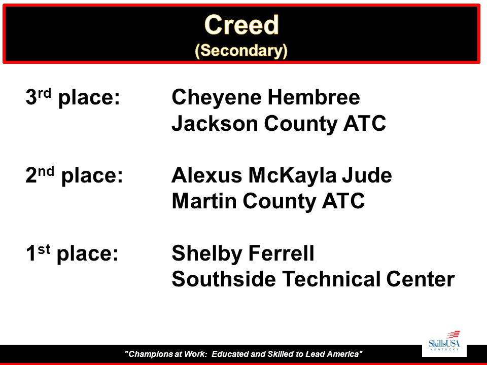 Champions at Work: Educated and Skilled to Lead America 3 rd place:Cheyene Hembree Jackson County ATC 2 nd place:Alexus McKayla Jude Martin County ATC 1 st place:Shelby Ferrell Southside Technical Center
