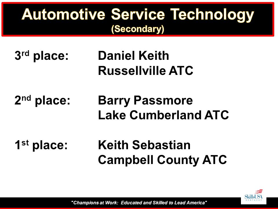 Champions at Work: Educated and Skilled to Lead America 3 rd place:Daniel Keith Russellville ATC 2 nd place:Barry Passmore Lake Cumberland ATC 1 st place:Keith Sebastian Campbell County ATC