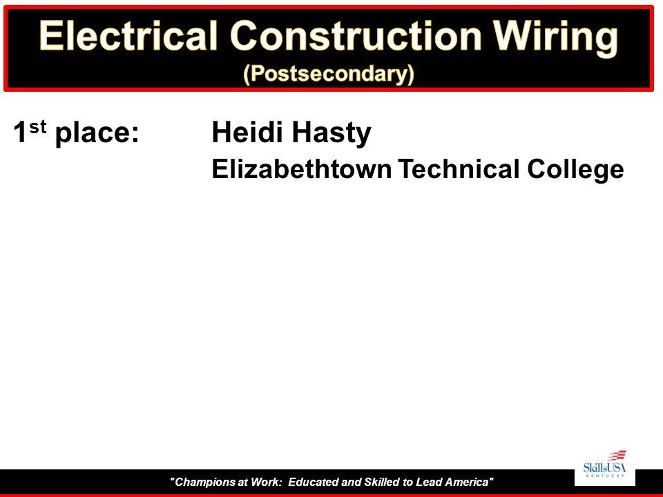 Champions at Work: Educated and Skilled to Lead America 1 st place:Heidi Hasty Elizabethtown Technical College