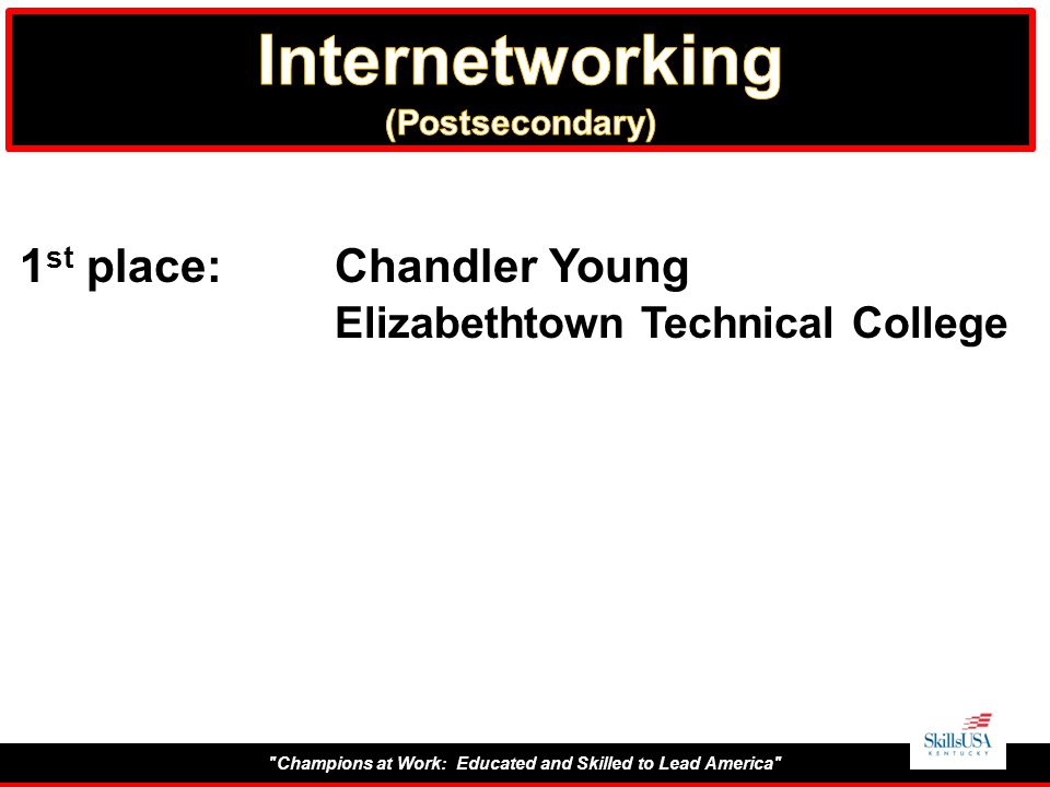 Champions at Work: Educated and Skilled to Lead America 1 st place:Chandler Young Elizabethtown Technical College
