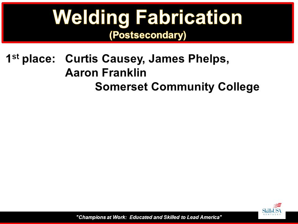Champions at Work: Educated and Skilled to Lead America 1 st place:Curtis Causey, James Phelps, Aaron Franklin Somerset Community College
