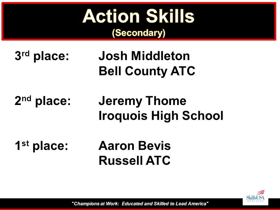 Champions at Work: Educated and Skilled to Lead America 3 rd place:Josh Middleton Bell County ATC 2 nd place:Jeremy Thome Iroquois High School 1 st place:Aaron Bevis Russell ATC