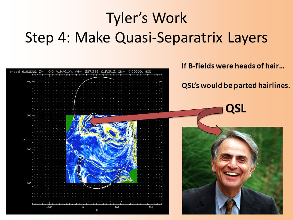 Tyler's Work Step 4: Make Quasi-Separatrix Layers If B-fields were heads of hair… QSL's would be parted hairlines.