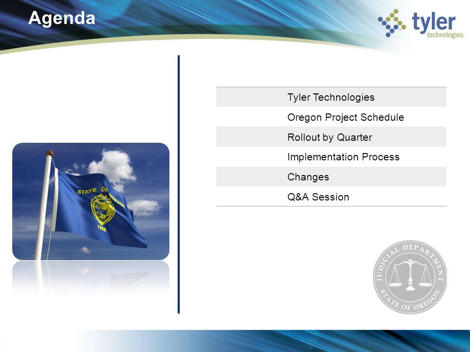 Agenda Tyler Technologies Oregon Project Schedule Rollout by Quarter Implementation Process Changes Q&A Session