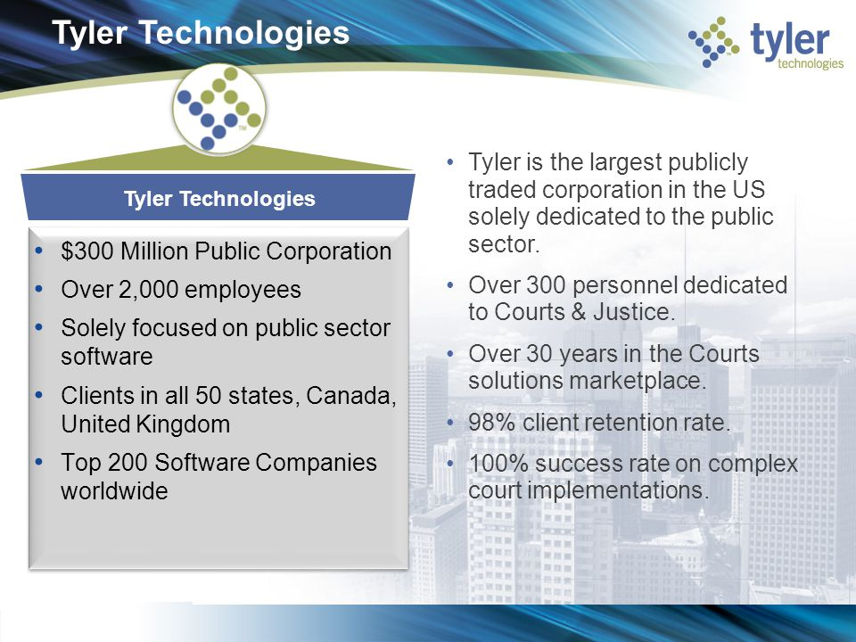 Tyler Technologies Tyler is the largest publicly traded corporation in the US solely dedicated to the public sector.