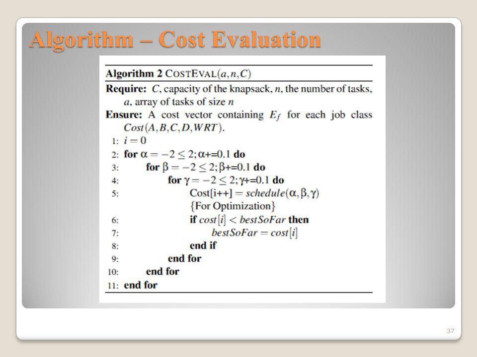 Algorithm – Cost Evaluation 37