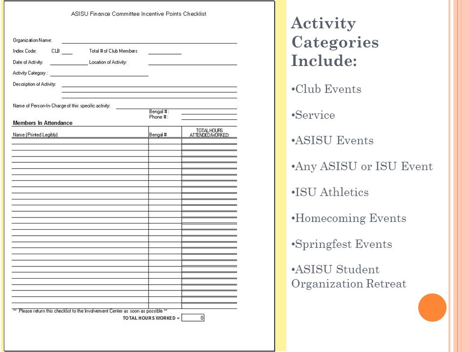 Activity Categories Include: Club Events Service ASISU Events Any ASISU or ISU Event ISU Athletics Homecoming Events Springfest Events ASISU Student O
