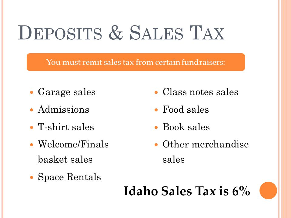 D EPOSITS & S ALES T AX Garage sales Admissions T-shirt sales Welcome/Finals basket sales Space Rentals Class notes sales Food sales Book sales Other