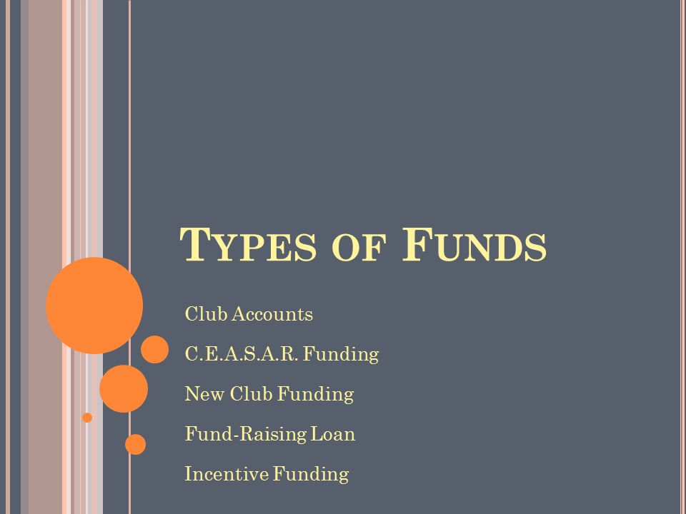 T YPES OF F UNDS Club Accounts C.E.A.S.A.R. Funding New Club Funding Fund-Raising Loan Incentive Funding