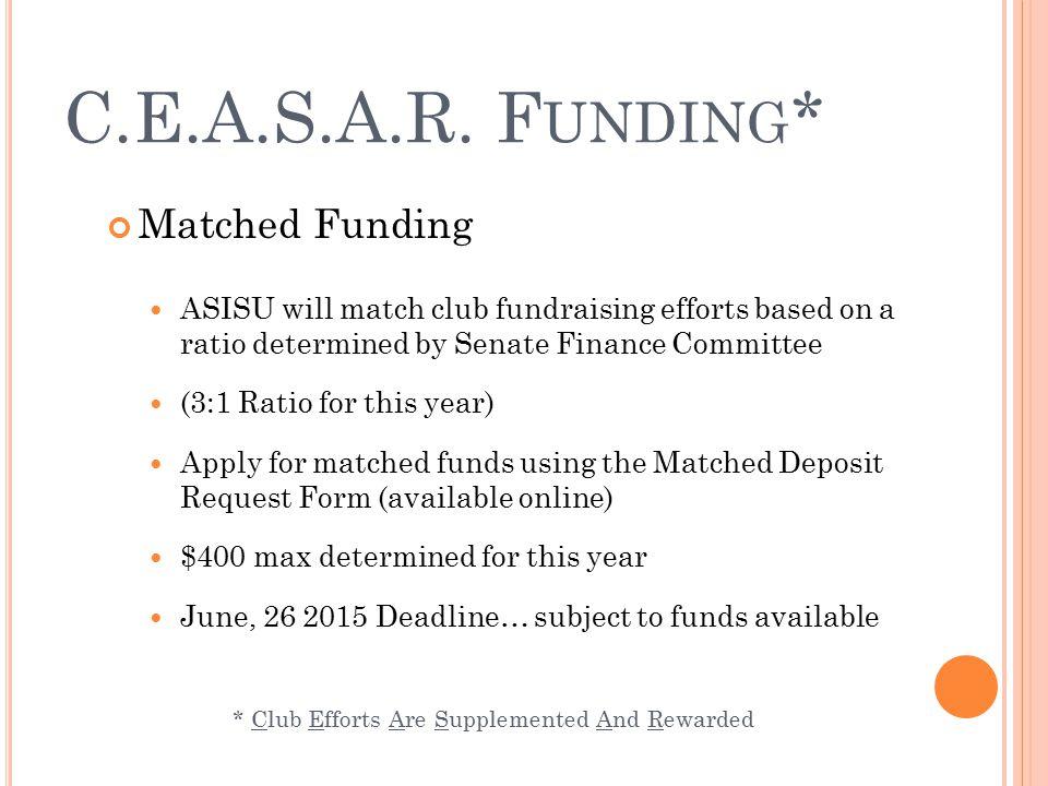 H OW DO I APPLY FOR C.E.A.S.A.R. F UNDING ? isu.edu/asisu/funding