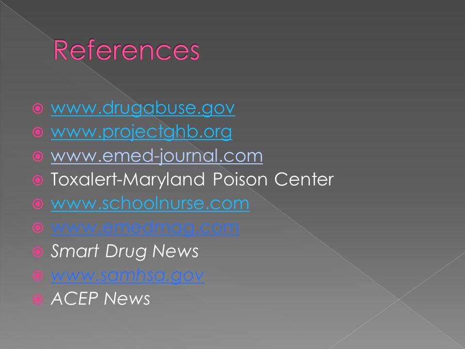  www.drugabuse.gov www.drugabuse.gov  www.projectghb.org www.projectghb.org  www.emed-journal.com  Toxalert-Maryland Poison Center  www.schoolnurse.com www.schoolnurse.com  www.emedmag.com  Smart Drug News  www.samhsa.gov  ACEP News