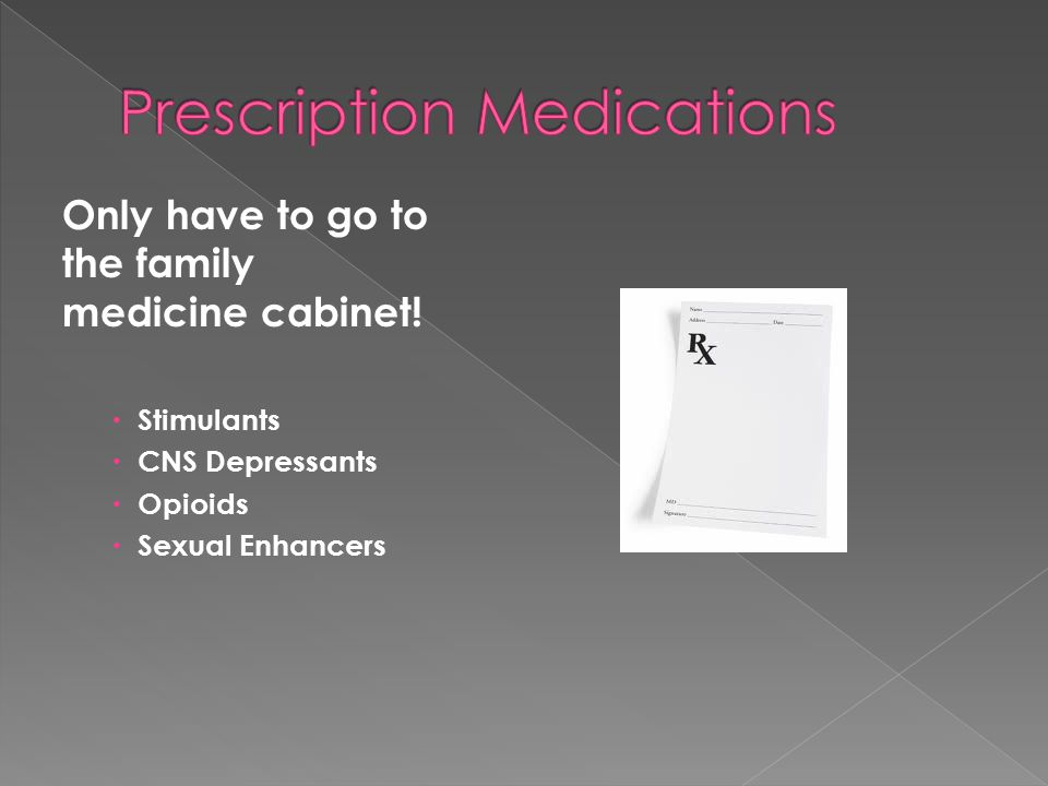 Only have to go to the family medicine cabinet!  Stimulants  CNS Depressants  Opioids  Sexual Enhancers